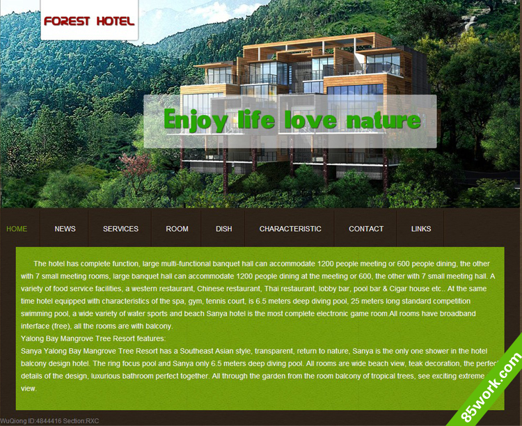 英文酒店主题大学生网页设计作业成品html_学生网页